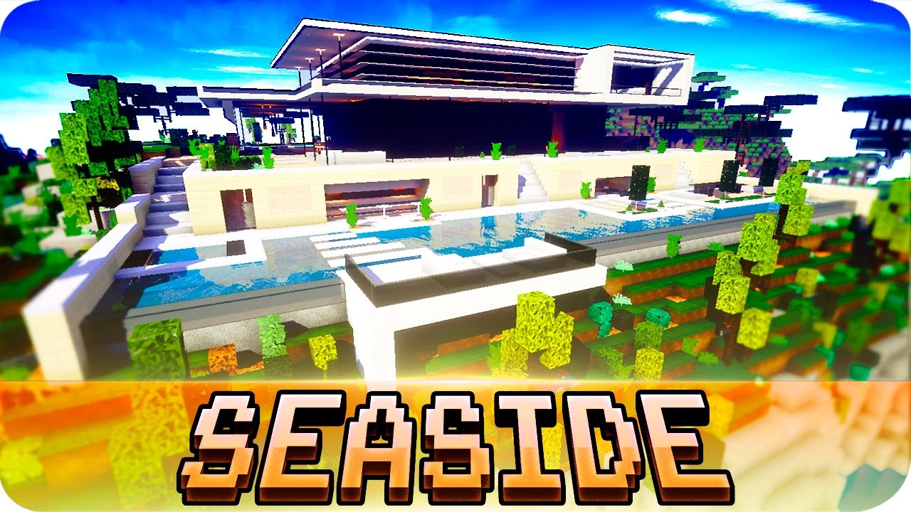 minecraft modern seaside house design with interior