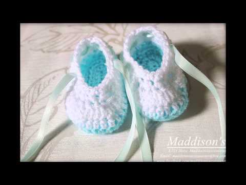 Crochet baby ballet shoes