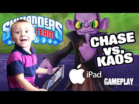 Chase vs Kaos  SKYLANDERS TRAP TEAM TABLET GAMEPLAY 3 Year Old Beats the Game!