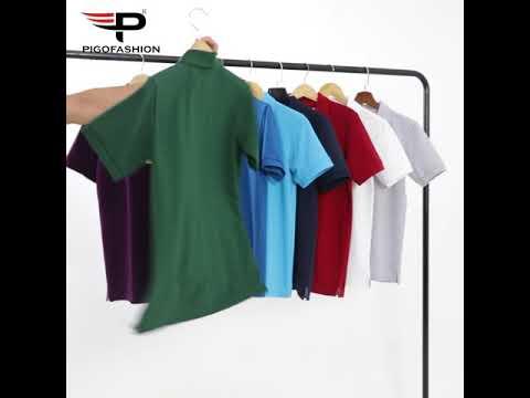 Bộ 2 áo thun nam có cổ màu trơn chuẩn phong cách pigo fashion Ab19 chọn màu