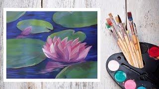 Картина за 10 минут! Видео урок Рисуем Гуашью Кувшинки в пруду! #Dari Art(В этом видео предлагаю нарисовать прекрасные кувшинки! Для работы нам потребуется: гуашь (12 цветов, я испол..., 2015-05-14T10:57:10.000Z)