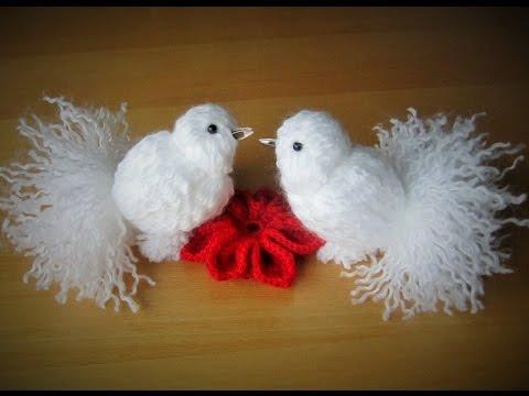 diy pigeontaube aus garn zusammenbinden schnell und