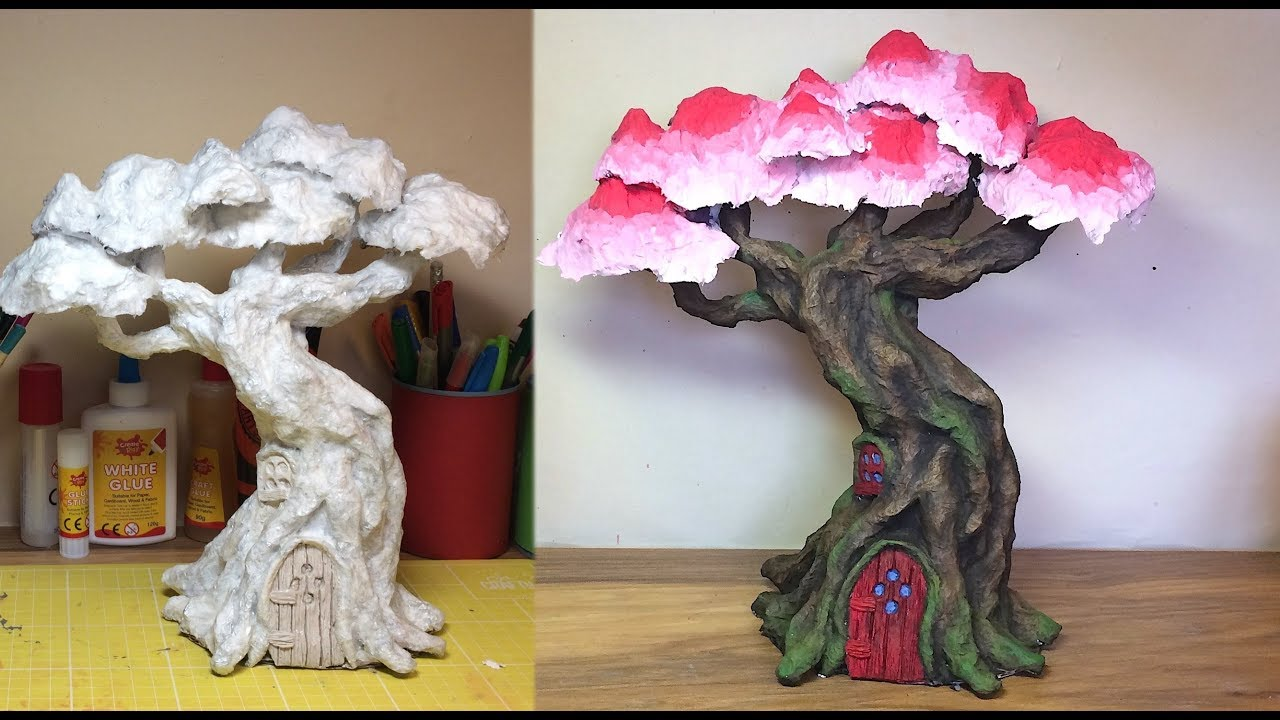 How To Make A Paper Mache Fairy Elf Treehouse Youtube