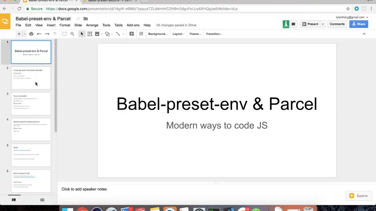 babel preset env and parcel