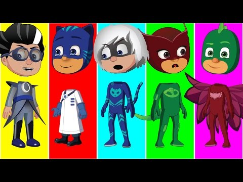 Thumbnail: Wrong heads Pj Masks Gekko Catboy Owlette And Romeo finger Family Songs Collection