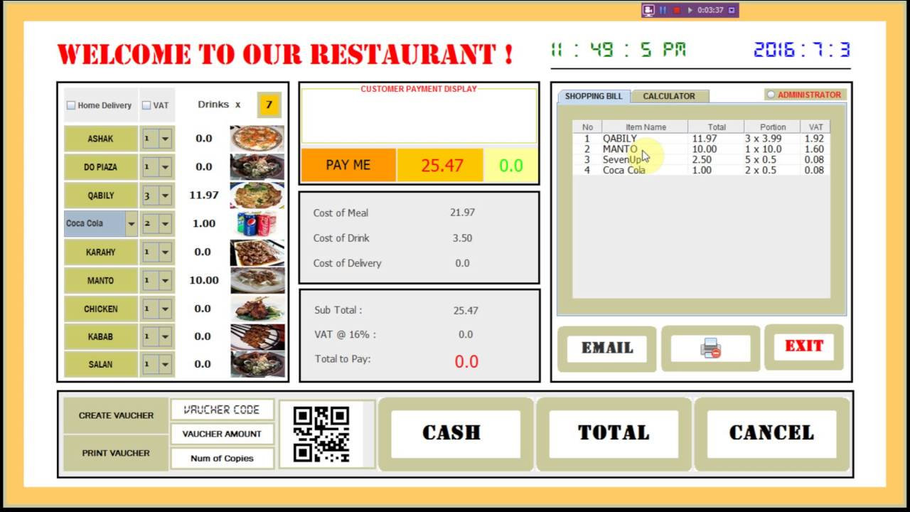 Restaurant Software in Java