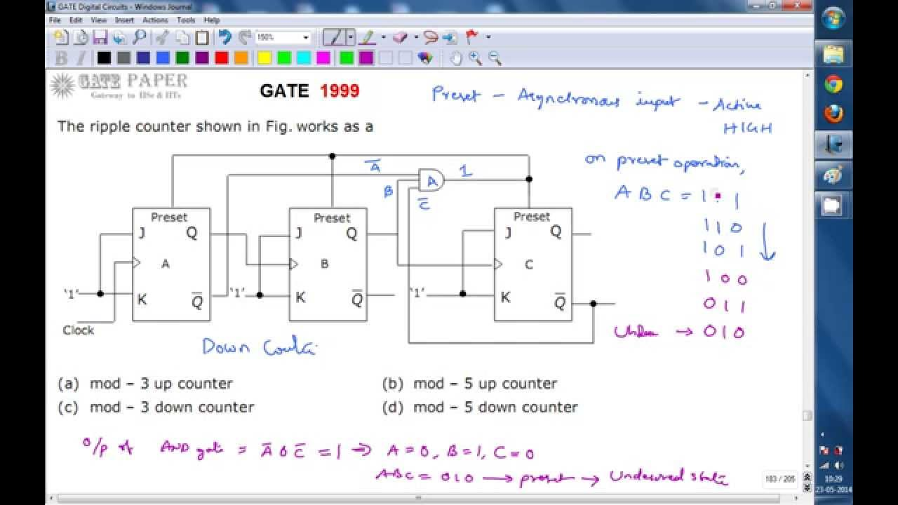 GATE 1999 ECE Mod 5 Ripple or Asynchronous Down Counter