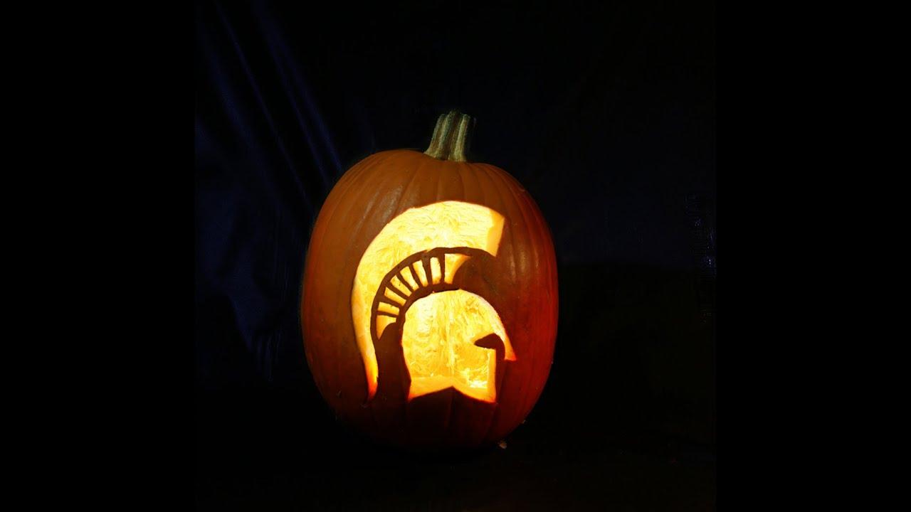 How to carve a spartan pumpkin youtube