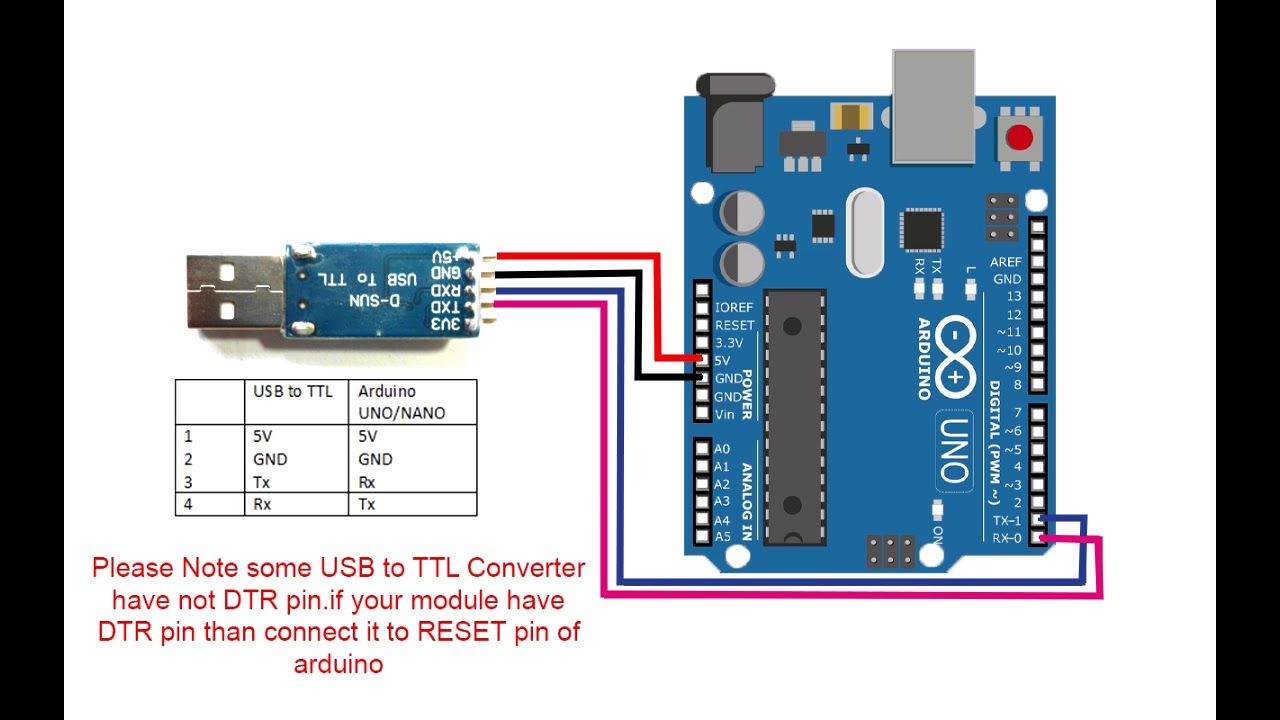 Arduino Programming By Usb To Ttl Converter