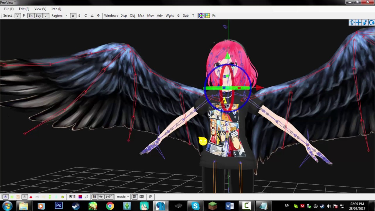 [MMD | PMXE Tutorial] How to attach wings (and other things) to your model