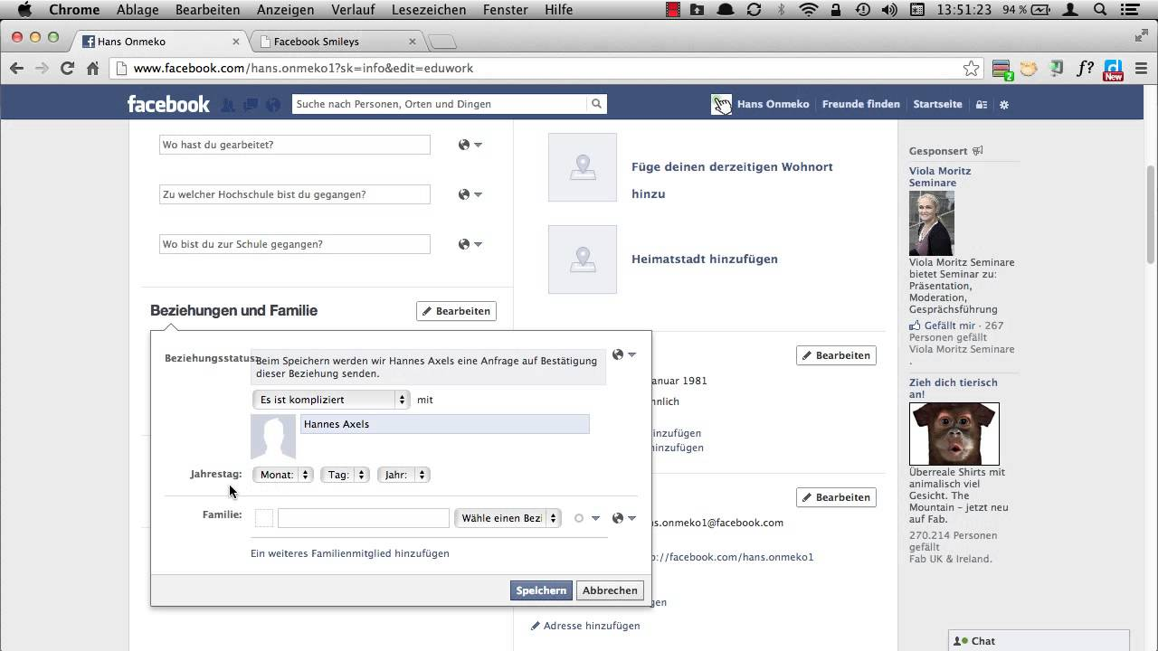 Facebook beziehungsstatus anzeigen