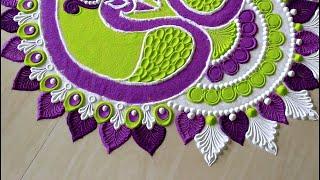 Peacock rangoli design for diwali l diya spoon l navratri rangoli designs with colours l रंगोली रचना