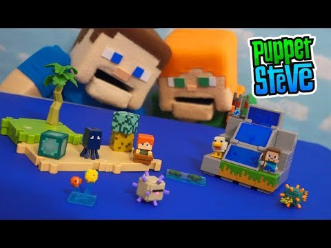 Minecraft Mini Figures OCEAN BIOME Playset SERIES 4!? Collection Unboxing
