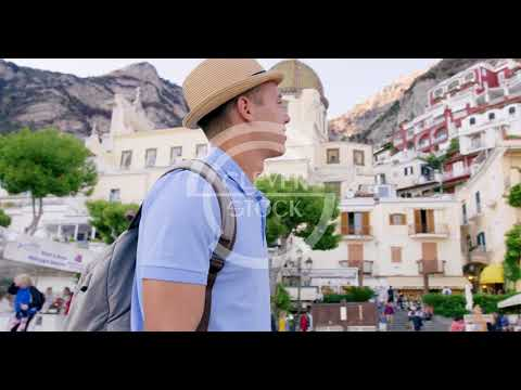 Male Model with Sunglasses Walking in Italy Luxury Lifestyle Happiness Seeker Adventure Slow Motion