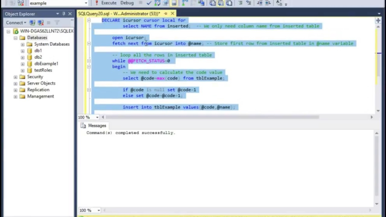 Create a Microsoft SQL Server 2016 Trigger - Code used in comments