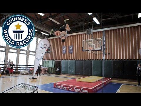 Farthest forward flip trampette slam dunk - Guinness World Records