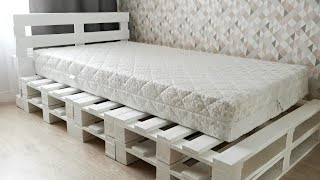 DIY Pallet Bed Frame  How To Make Simple Bed From Pallets?