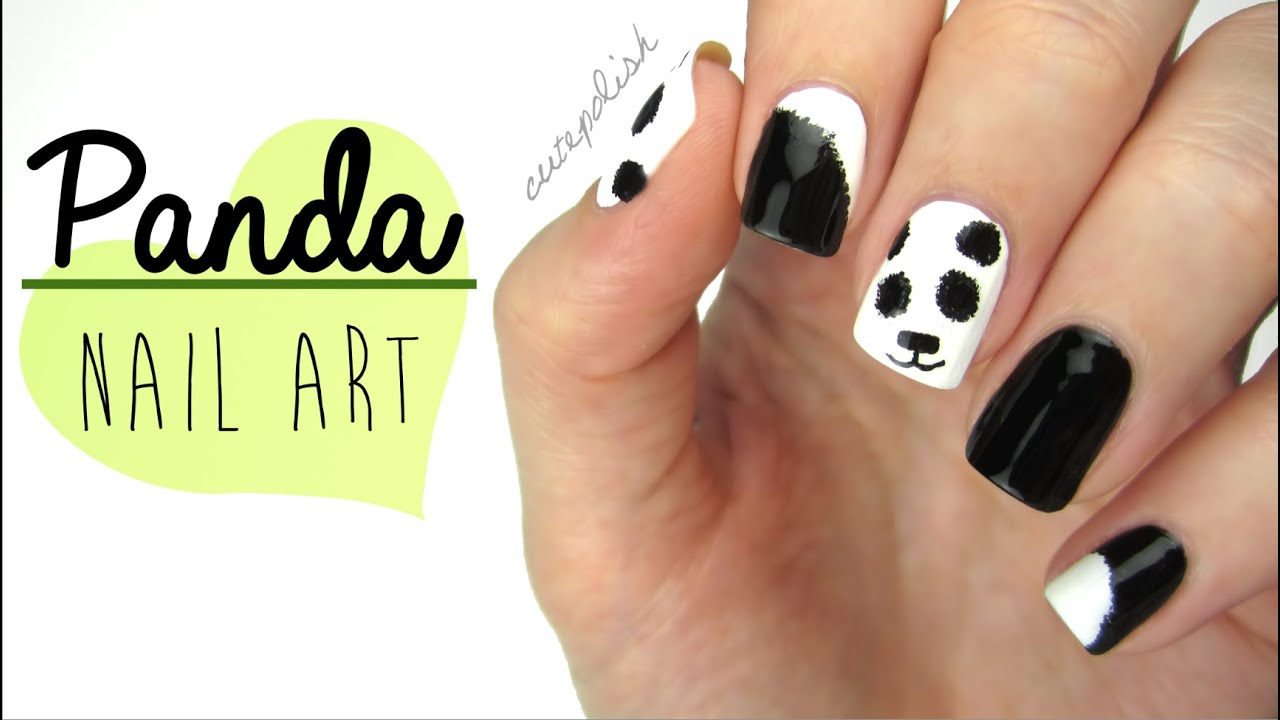 Nail art fuzzy panda nails youtube prinsesfo Image collections