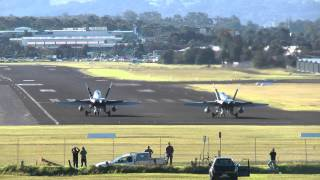 F/A-18 Hornets - 30-40 knot Cross Wind Take-Off