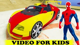 EPIC BUGATTI PARTY vs SPIDERMAN and Tow Truck Cartoon and Superhero w Nursery Rhymes Kid Songs