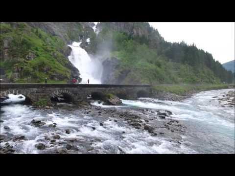 Drone movie waterfalls in Hordaland Norway