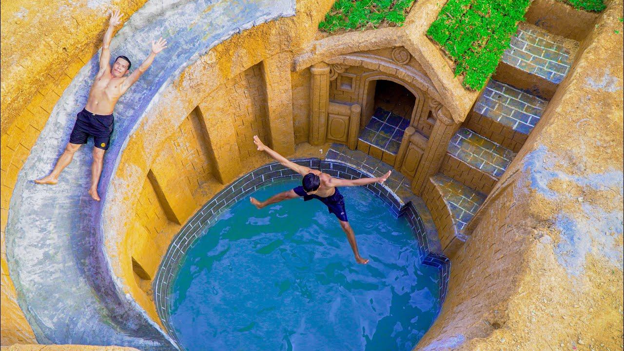 100 Days Of Build Swimming Pool Water Slide Around Secret Underground House