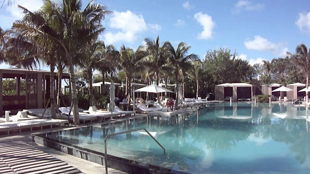 w hotel miami south beach pool view morning youtube. Black Bedroom Furniture Sets. Home Design Ideas