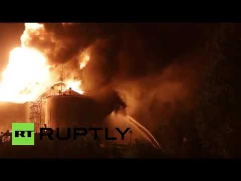 Huge fire breaks out at oil depot in Kiev region
