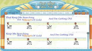 Heart Of Gold - Neil Young - Guitaraoke, Chords & Lyrics, Guitar Lesson - playwhatyoufeel.com