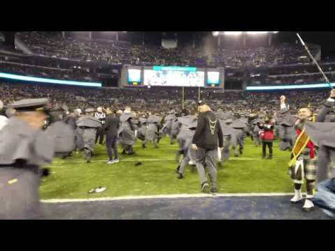 Army cadets rush field after victory over Navy