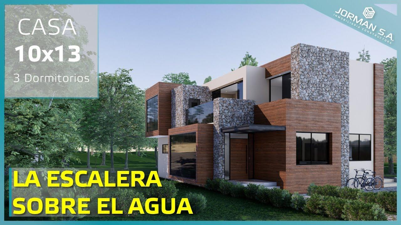 Modelo de casa de 2 pisos (Casa 10x13 metros) House in the woods  3d Plan
