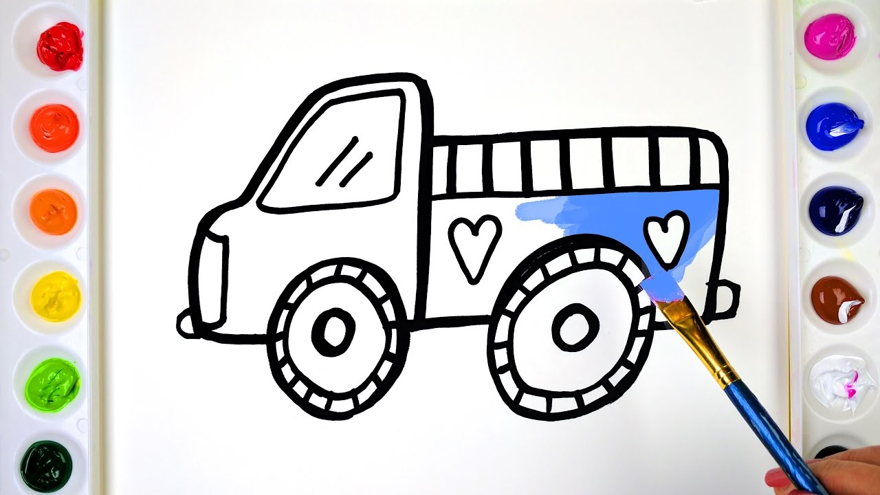draw color paint baby truck coloring pages for kids to learn painting
