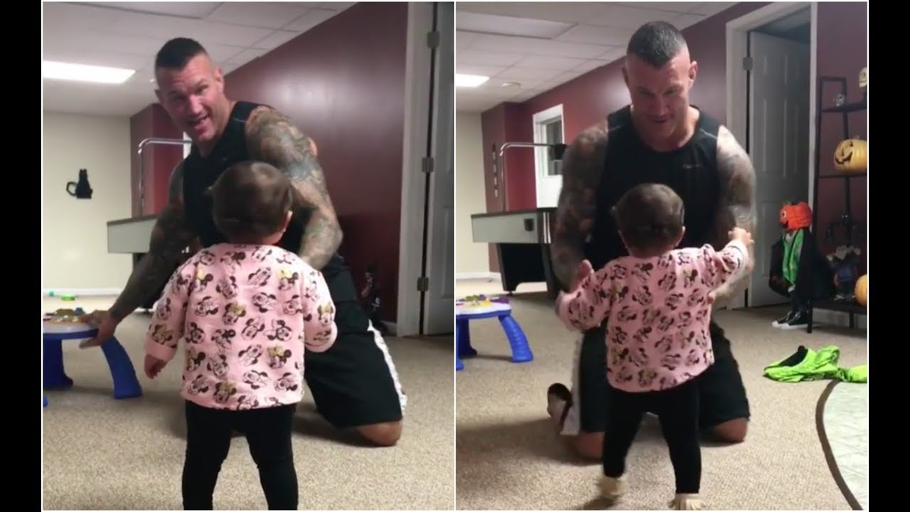 Randy Orton playing with his daughter before going to ...