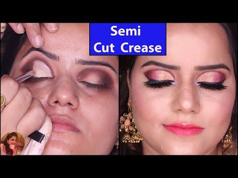 Semi Cut Crease /Half Cut Crease Eye shadow Tutorial- Easy Way-Eye Makeup Look For Bridal Makeup thumbnail