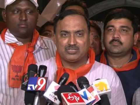 Ahmedabad BJP president Rakesh Shah briefs media persons