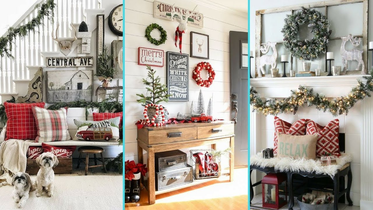 diy rustic shabby chic style christmas entryway decor ideas foyer decor ideas flamingo mango - Entryway Christmas Decorations