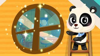 Panda Baby Play Baseball. Mommy Panda Asking to Help. Cartoon for Kids