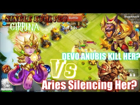 CIRRINA CRAZY! Vs Aries Silencing Her? Devo Anubis Killing Her? Castle Clash