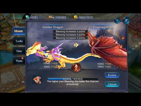 Heroes of Chaos Mount upgrade Golden Dragon to Enigmagon sea28 [HD]