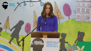 The Duchess of Cambridge speaks at the launch of mentally healthy schools