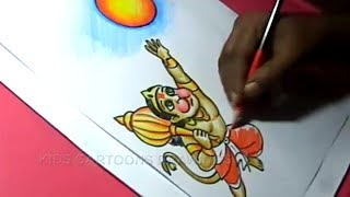 How to Draw LORD Child HANUMAN with sun Drawing