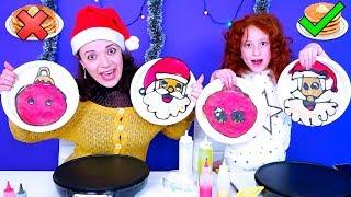 🎄 Блинный ЧЕЛЛЕНДЖ На Новый Год 2019   Christmas Pancake Art Challenge    מכינים פנקייק אתגר