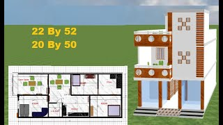 22 by 52 HOME DESING,22 by 52 HOUSE PLAN IN 3D,22*52 MODERN HOME DESIGN,20 by 50 2BHK HOUSE