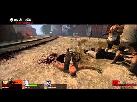 Degenererade Gamers spelar Left 4 Dead 2 Hard mode Del 2