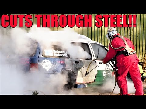 Watch powerful pressure washer obliterate a Ford Sierra