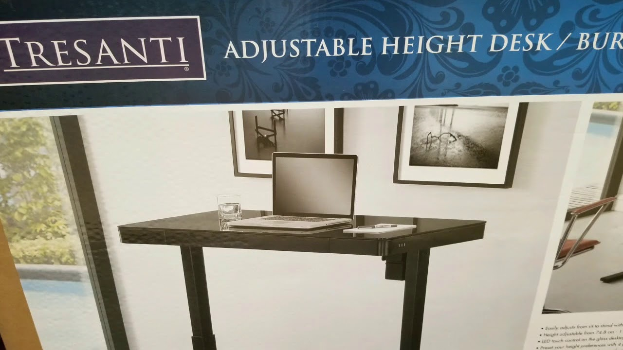 Costco Tresanti Adjustable Height Desk Black Glass 299