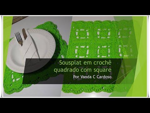 Sousplat Em Crochê Quadrado Com Square Super Fácil