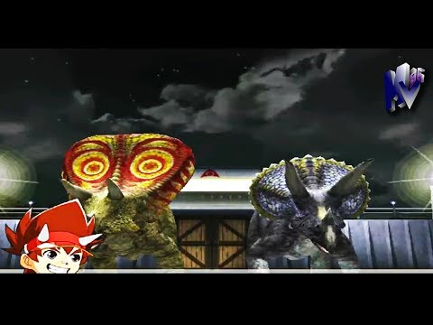 Dinosaur King Arcade Game 古代王者恐竜キング Torosaurus And Triceratops VS Alpha Fortress Hard Mode