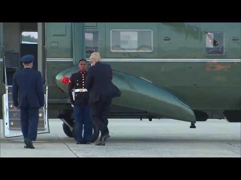 Trump Retrieves Marine's Hat at Windy Andrews AFB