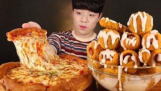 페퍼로니 시카고피자 뿌링사이드메뉴 먹방 뿌링치즈볼 핫…